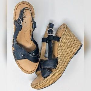 BOC Born Concepts Black Strappy Wedge Sandals, 7